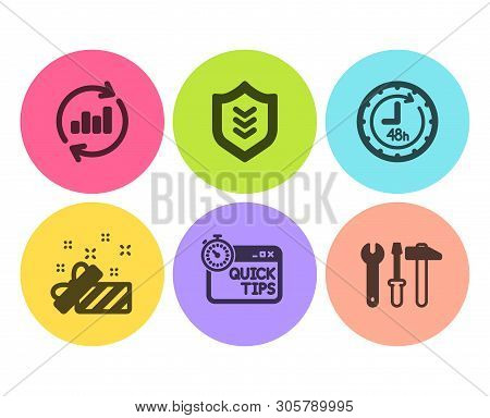 Shield, 48 Hours And Quick Tips Icons Simple Set. Update Data, Present And Spanner Tool Signs. Prote