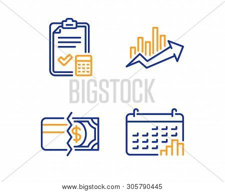 Accounting Checklist, Payment Methods And Growth Chart Icons Simple Set. Calendar Graph Sign. Calcul