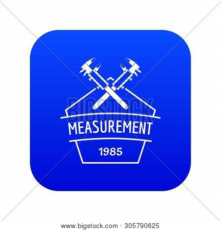 Vernier Caliper Icon Blue Vector Isolated On White Background