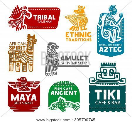 Maya And Aztec Tribal Signs, Corporate Business Identity Icons. Vector Mayan And Aztec Birds And Ani