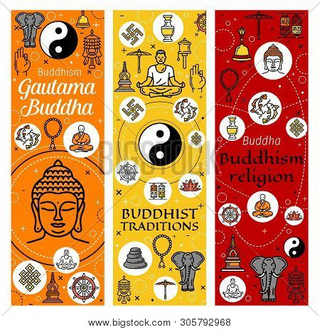 Buddhism Religion Banners Of Buddhist Meditation And Buddhist Tradition Icons. Vector Dharma Wheel,