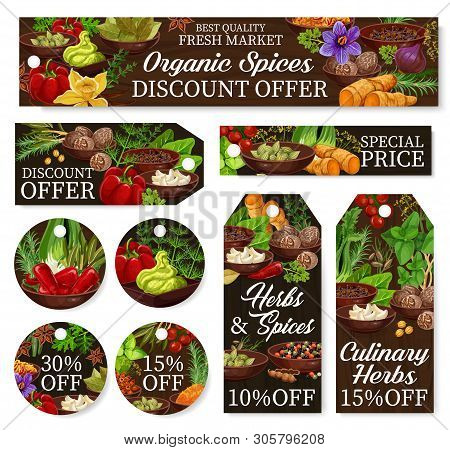 Cooking Spices Store Discount Labels, Herbs And Herbal Seasonings Shop Promo Offer Price Tags. Vecto