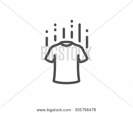 Dry T-shirt Line Icon. Laundry Shirt Sign. Clothing Cleaner Symbol. Quality Design Element. Linear S