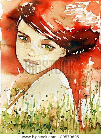 fiery portrait.