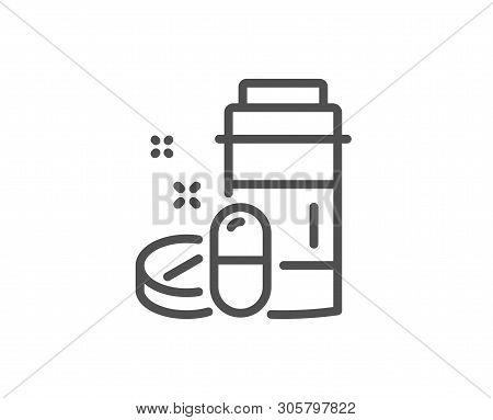 Medical Drugs Bottle Line Icon. Medicine Pills Sign. Pharmacy Medication Symbol. Quality Design Elem