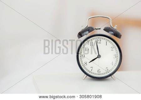 Closeup Alarm Clock And Beautiful Asian Young Woman In Morning, Wake Up For Sleep With Alarm Clock,