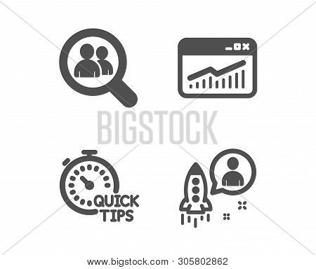 Set Of Website Statistics, Quick Tips And Search Employees Icons. Startup Sign. Data Analysis, Helpf