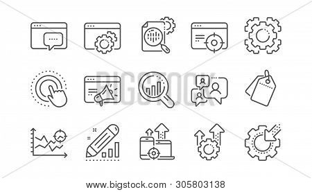 Seo Line Icons. Website Stats, Target And Increase Sales Signs. Traffic Management, Social Network A