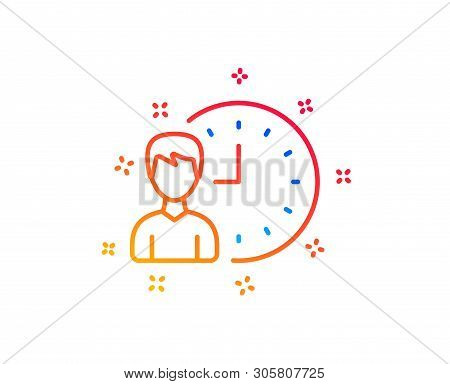 Business Project Deadline Line Icon. Working Hours Or Time Management Sign. Gradient Design Elements