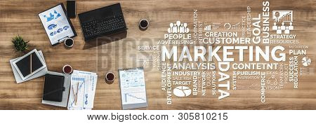 Digital Marketing Technology Solution For Online Business Concept - Graphic Interface Showing Analyt