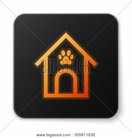 Orange glowing Dog house and paw print pet icon isolated on white background. Dog kennel. Black square button. Vector Illustration poster