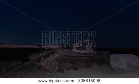 Qatsrin, Israel, June 07, 2019 : A Memorial Site For Fallen Soldiers Of Oz Battalion 77 At Night. Ki
