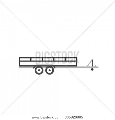 Large open car trailer outline icon. Clipart image isolated on white background