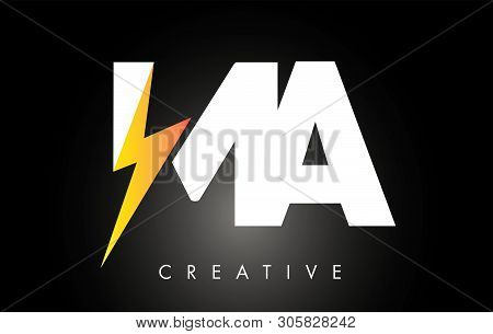 Ma Letter Logo Design With Lighting Thunder Bolt. Electric Bolt Letter Logo Vector Illustration.