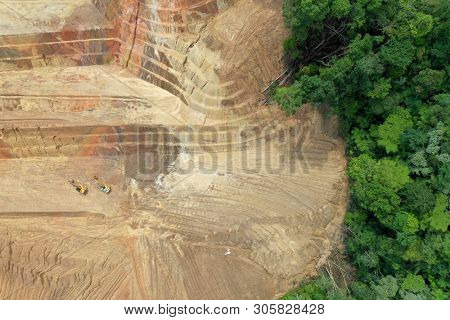 Logging. Aerial drone view of deforestation environmental problem. Rainforest in Malaysia