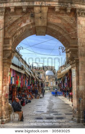 JERUSALEM - FEBRUARY 23: Gateway to the Muristan in the Old City February 23, 2012 in Jerusalem, IL. The site was the location of the first hospital of the Knights Hospitaller during the crusades.