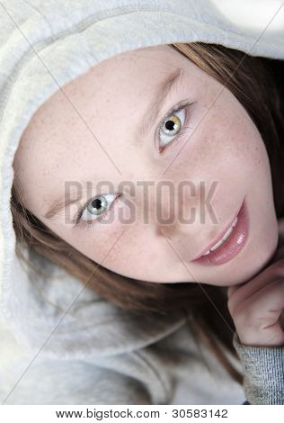Girl with pretty eyes looking up