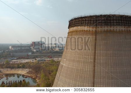 Chernobyl Nuclear Power Plant, Aerial View. Sarcophagus Over A Nuclear Power Plant In Chernobyl, Ukr