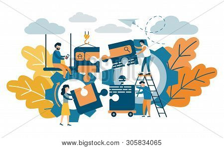 Building, Designing A Website Or Application. Flat Style Vector Design