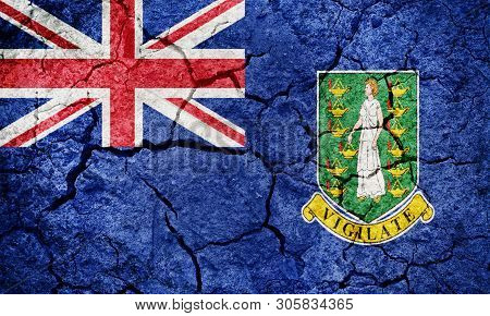Flag Of The British Virgin Islands On Dry Earth Ground Texture Background