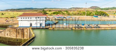 Panama City,panama - March 29,2019 - Panoramic View From Miraflores Visitors Center At The Miraflore