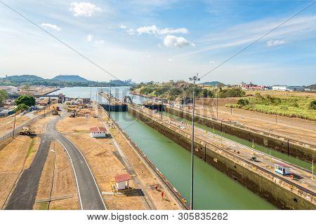 Panama City,panama - March 29,2019 - View From Miraflores Visitors Center At The Miraflores Locks Of