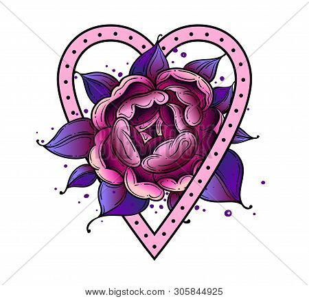 Tattoo Dog Rose Pion Flower With Heart.tattoo Old School Style, Symbol Of Love. Boho Print.vector Il
