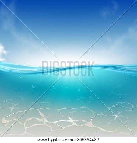 Oceanic Wave, Sea Water Column Realistic Vector Background. Bright Sky, Sun Rays Spreading In Clear,
