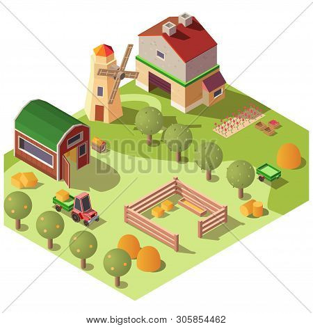 Fruit And Livestock Farm Farmyard With House, Outbuildings, Windmill, Orchard And Tractor Transporti