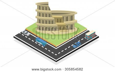 Illustration Isometric Colosseum In Rome, Italy. Ancient Roman Colosseum Is One Of The Main Tourist