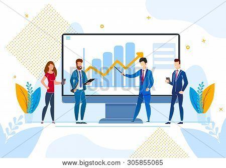 Flat Inscription Social Media Vector Illustration. Study Impact Social Networks On Growth Business P