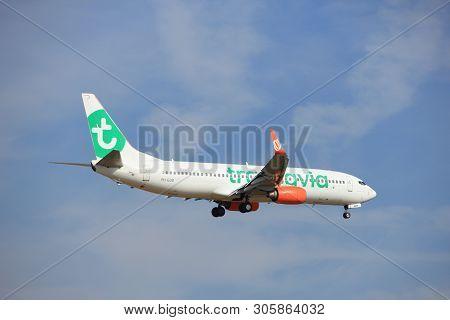 Amsterdam, The Netherlands - July 21st 2016: Ph-gub  Transavia Boeing 737,  Approaching Polderbaan R