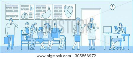 Doctor Waiting Room. Doctor Waiting Room. People Patient Hospital Queue Doctors Clinic Interior. Med