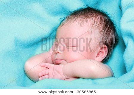 Sleeping Newborn Baby Boy in a Blue Blanket