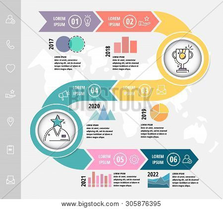 Vector Modern Flat Illustration.timeline Infographic Template With Elements, Circles, Text. Designed