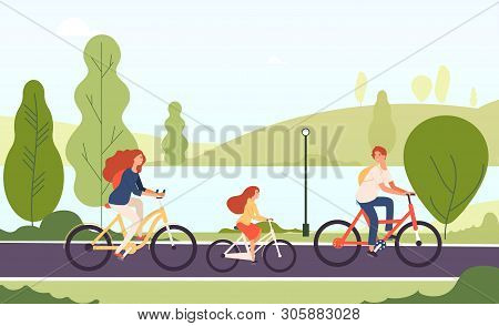 Family Riding Bikes. Happy Parents Daughter Cycling Bicycles Together In Outdoor Park Active Lifesty