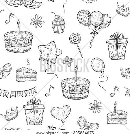 Happy Birthday Seamless Pattern. Birthday Celebration Party Drawn Cake Balloon Candle Kids Holiday D