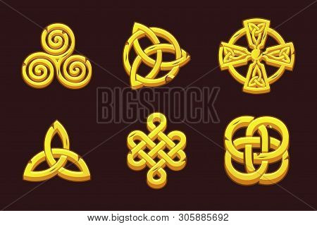 Golden Celtic Symbols. Cartoon Set Celtic Icons.