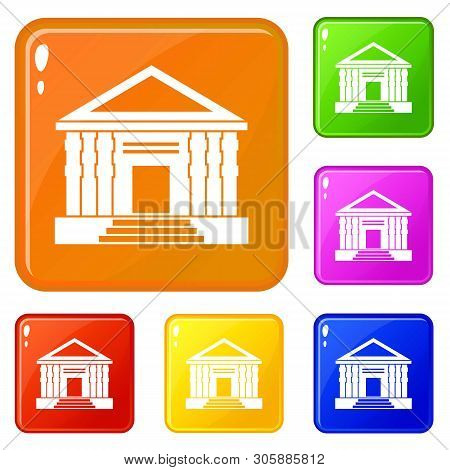 Colonnade Icons Set Collection Vector 6 Color Isolated On White Background