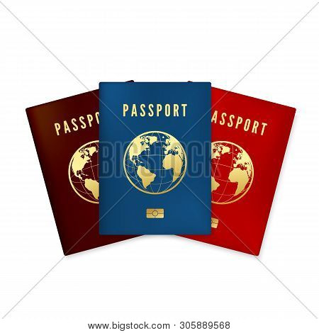 Set Of Biometric Blue Brown And Red Passports Cover. Identity Document With Digital Id. Golden Text