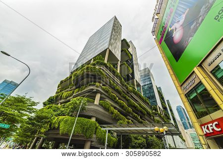 Singapore, Singapore - April 25, 2019: Green Nature Facade Of Parkroyal On Pickering Hotel Building