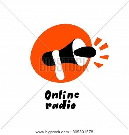 Vector Flat Hand Drawn Illustration Of Speakerphone. Online Radio, Podcast Show, Broadcast Concept.