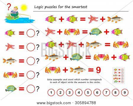 Mathematical Logic Puzzle Game For Smartest. Solve Examples And Count The Value Of Each Fish. Write
