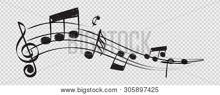 Musical Note. Staff Treble Clef Notes Musician Concept Vector Isolated On Transparent Background. Il