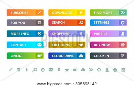 Web Buttons. Internet Modern Colored Flat Icons And Buttons Template Vector Ui Elements. Illustratio