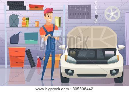 Mechanic In Garage. Auto Service Man Fixing Repairing Vehicle Vector Cartoon Background. Illustratio