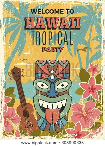 Hawaii Poster. Summer Dance Party Invitation Tiki African Tribal Masks Vector Illustrations. Tiki Ha