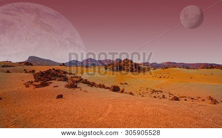 Red Planet With Arid Landscape, Rocky Hills And Mountains, And A Giant Mars-like Moon At The Horizon