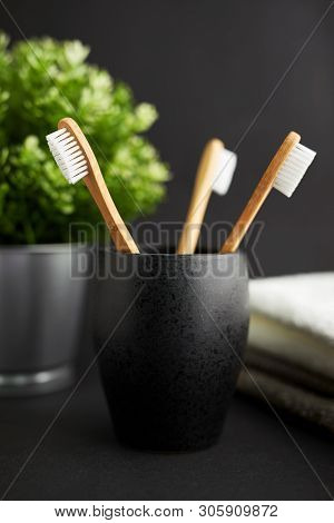 Three Bamboo Toothbrushes In A Black Glass With Plant On A Dark Background