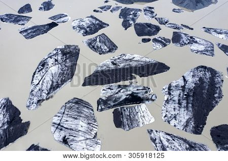 Aerial View Of Floating Icebergs. Svinafellsjokull Glacier Lake, Iceland
